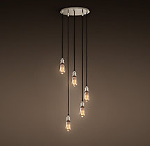 20th C. Factory Filament Bare Bulb Round Pendant