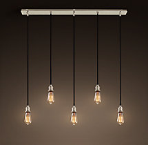 20th C. Factory Filament Bare Bulb Rectangular Pendant