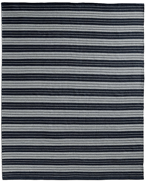 All-Weather Recycled Stripe Outdoor Rug - Black/Grey