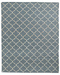 Hand-Knotted Moroccan Tile Flatweave Outdoor Rug - Fog/Ivory