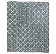 Hand Knotted Moroccan Tile Flatweave Outdoor Rug Fog Ivory