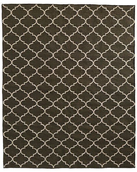 Hand-Knotted Moroccan Tile Flatweave Outdoor Rug - Mocha/Ivory