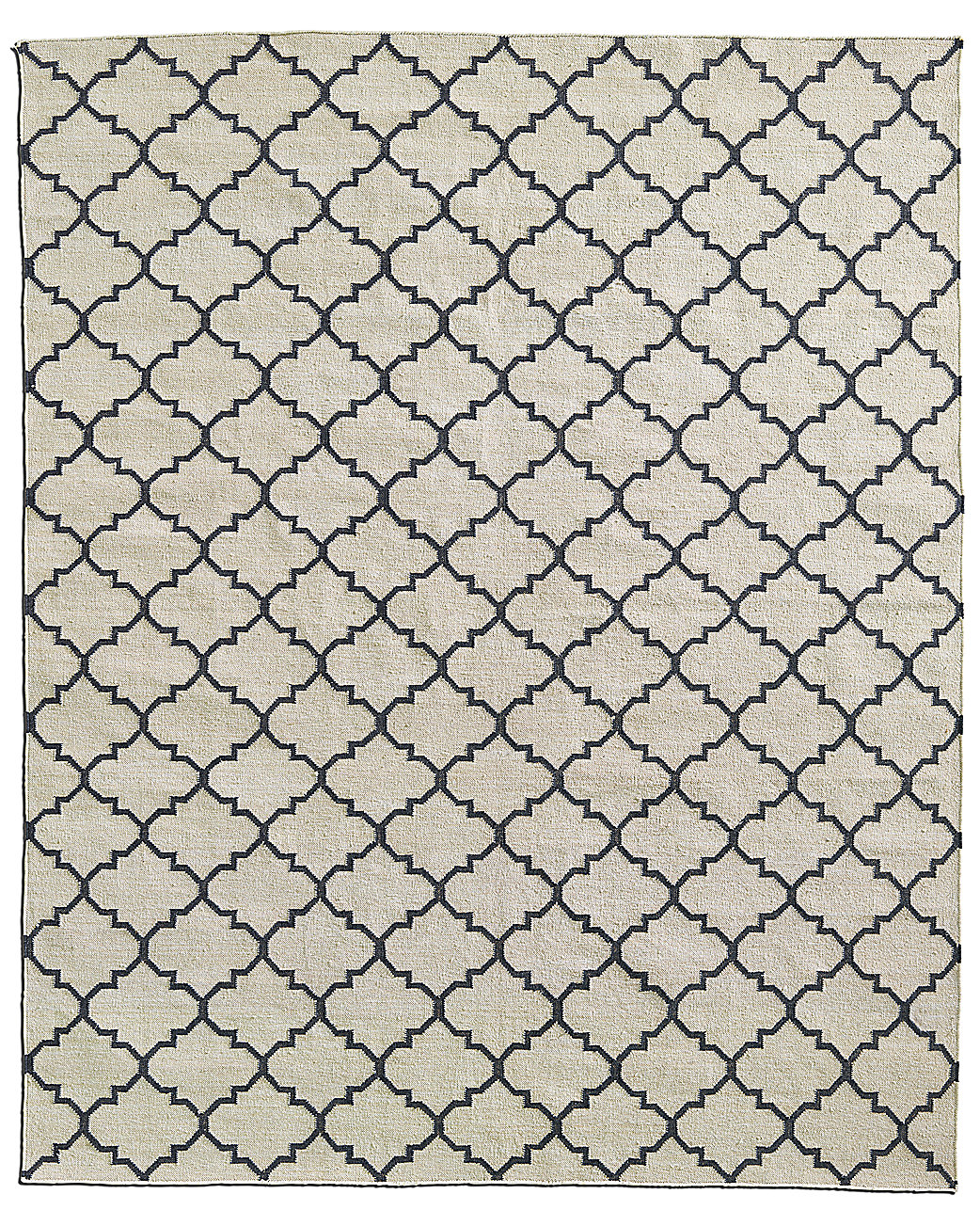 Hand-Knotted Moroccan Tile Flatweave Outdoor Rug - Ivory/Black