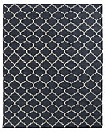 Hand-Knotted Moroccan Tile Flatweave Outdoor Rug - Black/Ivory