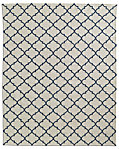 Hand-Knotted Moroccan Tile Flatweave Outdoor Rug - Ivory/Marine