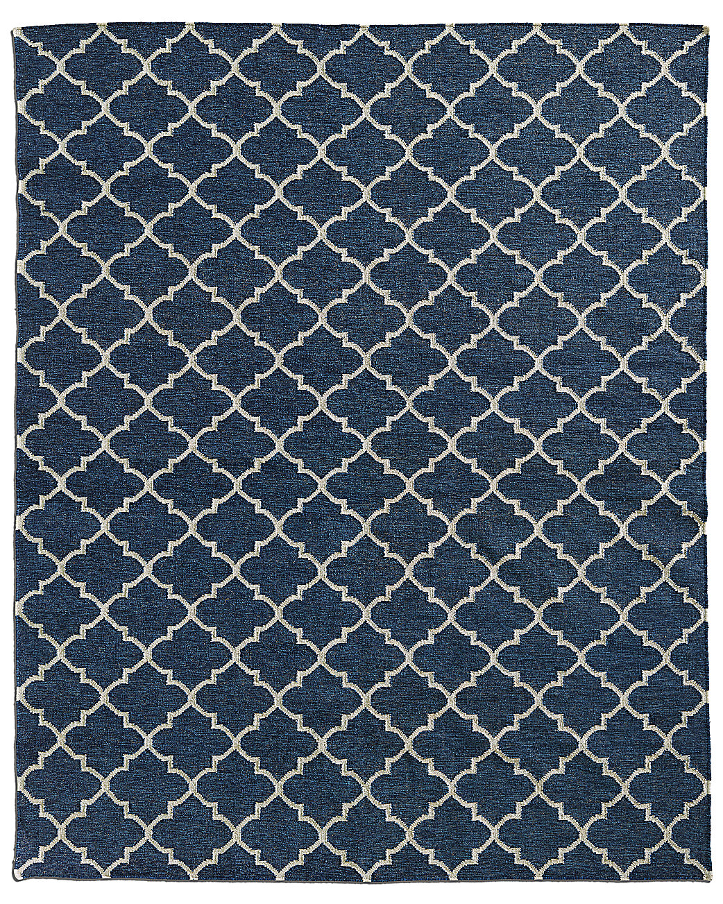 Hand-Knotted Moroccan Tile Flatweave Outdoor Rug - Marine/Ivory