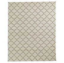 Hand-Knotted Moroccan Tile Flatweave Outdoor Rug - Ivory/Sand