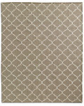 Hand-Knotted Moroccan Tile Flatweave Outdoor Rug - Sand/Ivory