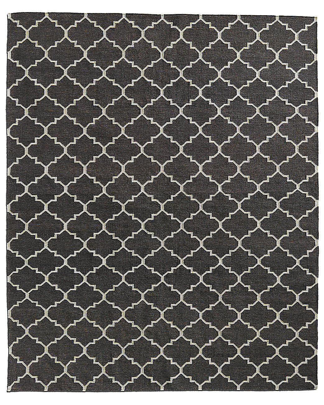 Hand-Knotted Moroccan Tile Flatweave Outdoor Rug - Charcoal/Ivory