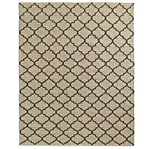 Hand-Knotted Moroccan Tile Flatweave Outdoor Rug - Ivory/Charcoal