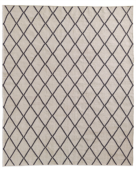 Hand-Knotted Moroccan Diamond Flatweave Outdoor Rug - Charcoal