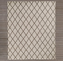 Hand-Knotted Moroccan Diamond Flatweave Outdoor Rug - Mocha