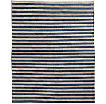 Hand-Knotted Awning Stripe Flatweave Outdoor Rug - Marine
