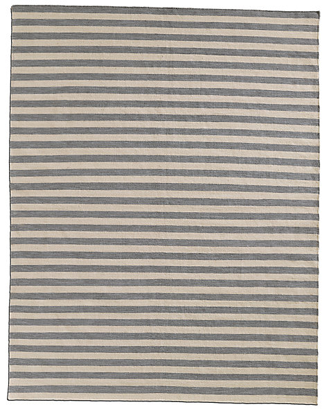 Hand-Knotted Awning Stripe Flatweave Outdoor Rug - Fog