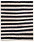 Hand-Knotted Awning Stripe Flatweave Outdoor Rug - Charcoal