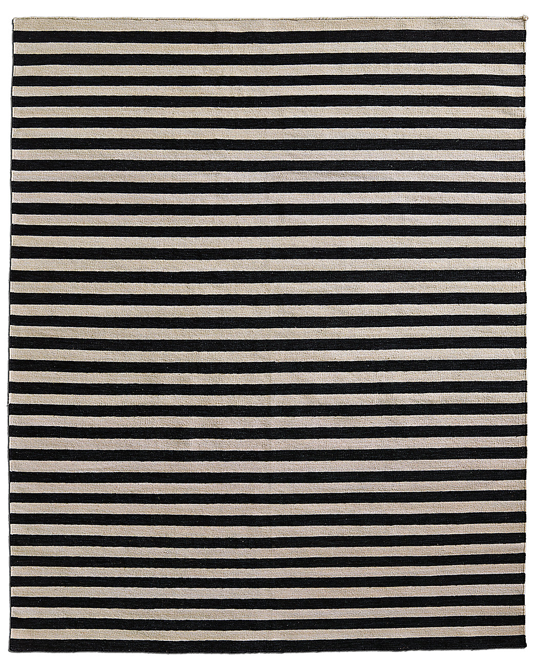 Hand-Knotted Awning Stripe Flatweave Outdoor Rug - Black