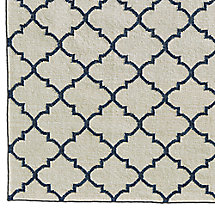 Hand-Knotted Moroccan Tile Flatweave Outdoor Rug Swatch - Ivory/Marine