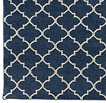 Hand-Knotted Moroccan Tile Flatweave Outdoor Rug Swatch - Marine/Ivory
