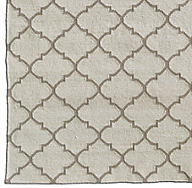 Hand-Knotted Moroccan Tile Flatweave Outdoor Rug Swatch - Ivory/Sand