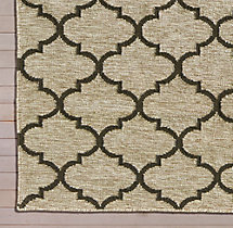 Hand-Knotted Moroccan Tile Flatweave Outdoor Rug Swatch - Charcoal/Ivory