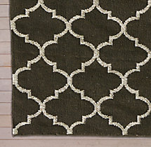 Hand-Knotted Moroccan Tile Flatweave Outdoor Rug Swatch - Ivory/Charcoal