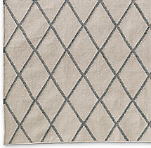 Hand-Knotted Moroccan Diamond Flatweave Outdoor Rug Swatch - Fog