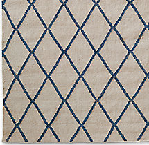 Hand-Knotted Moroccan Diamond Flatweave Outdoor Rug Swatch - Marine