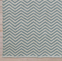 Chevron Flatweave Outdoor Rug Swatch - Ivory/Blue