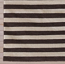 Hand-Knotted Awning Stripe Flatweave Outdoor Rug Swatch - Mocha
