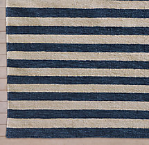 Hand-Knotted Awning Stripe Flatweave Outdoor Rug Swatch - Marine