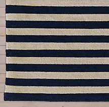Hand-Knotted Awning Stripe Flatweave Outdoor Rug Swatch - Charcoal