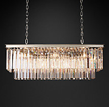 1920s Odeon Clear Glass Fringe Rectangular Chandelier 40""