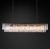 1920s Odeon Clear Glass Fringe Rectangular Chandelier 71""