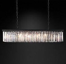 Rhys Clear Glass Prism Rectangular Chandelier 49""