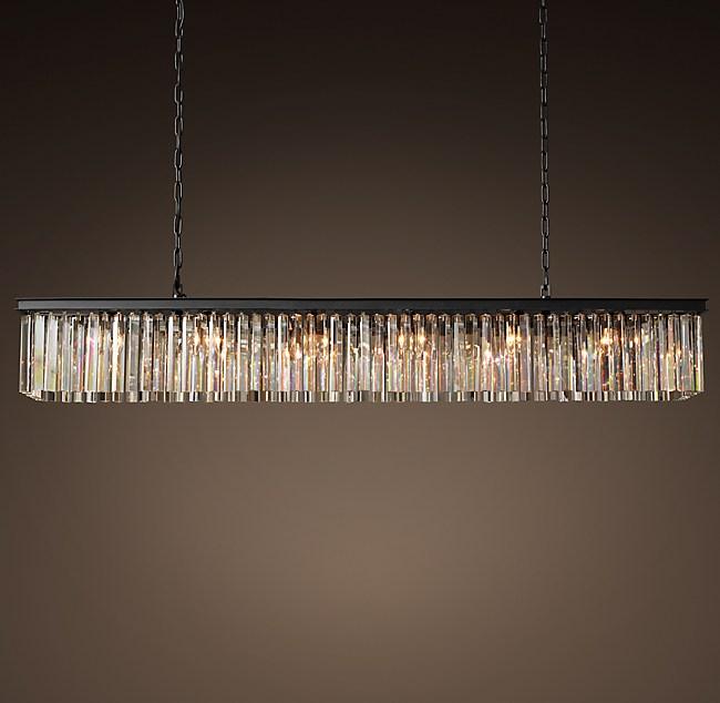 Rhys clear glass prism rectangular chandelier 71 aloadofball Gallery