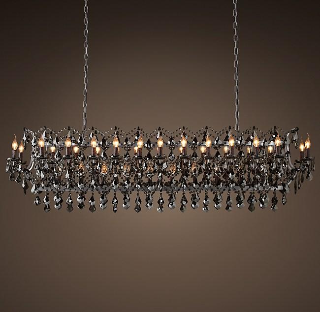 "Rococo Rectangular Chandelier: 19th C. Rococo Iron & Smoke Crystal Rectangular Chandelier 73"""