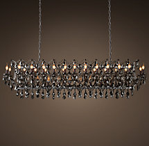 19th C. Rococo Iron & Smoke Crystal Rectangular Chandelier 73""