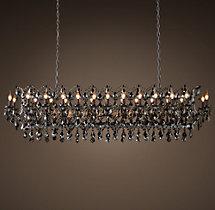 Adeline Crystal Rectangular Chandelier Installation