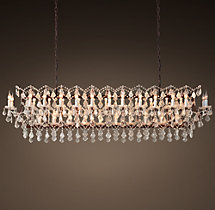 19th C. Rococo Iron & Clear Crystal Rectangular Chandelier 73""