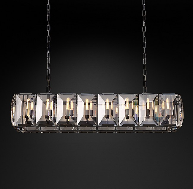 Harlow crystal rectangular chandelier 55 mozeypictures Choice Image