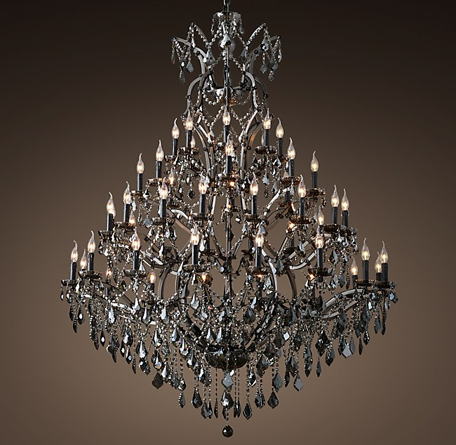 19th c rococo iron smoke crystal round chandelier 60 aloadofball Image collections