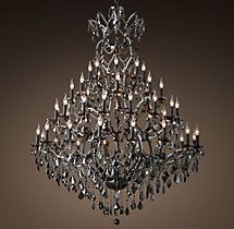 19th C. Rococo Iron & Smoke Crystal Round Chandelier 60""