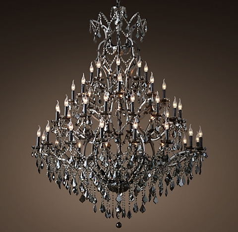 19th C Rococo Iron Smoke Crystal Round Chandelier 60