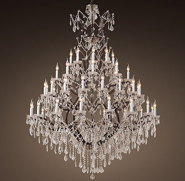 19th c rococo iron clear crystal round chandelier 60