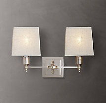 Claridge Double Sconce With Linen Shade