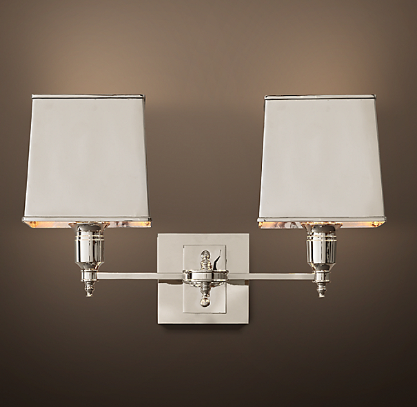 Claridge Double Sconce With Metal Shade