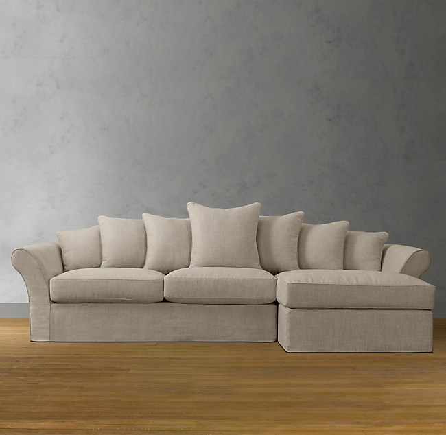 Camelback Slipcovered Right Arm Sofa Chaise Sectional