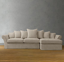 Camelback Slipcovered Right-Arm Chaise Sectional