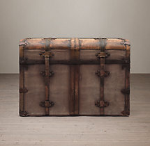 19th C. French Steamer Trunk Side Table