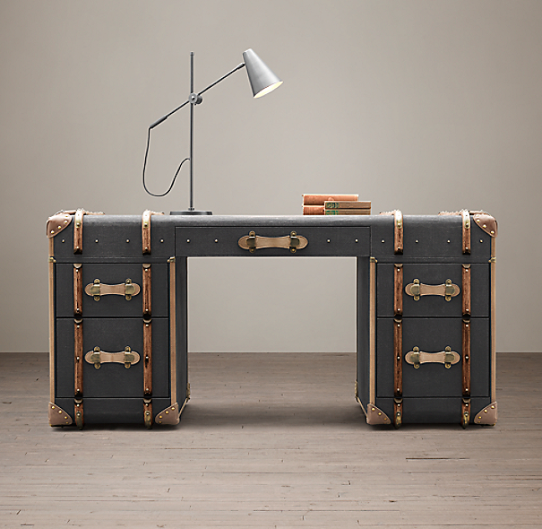 Richards Trunk Desk Charcoal Canvas